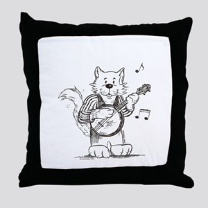 CatoonsT Banjo Cat Throw Pillow